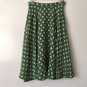Anthropologie Comme Toi green polka dot skirt S